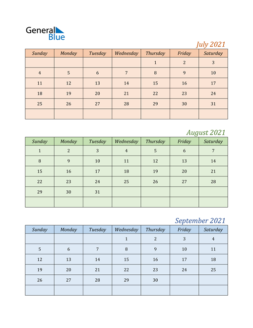Three-Month Calendar for Year 2021