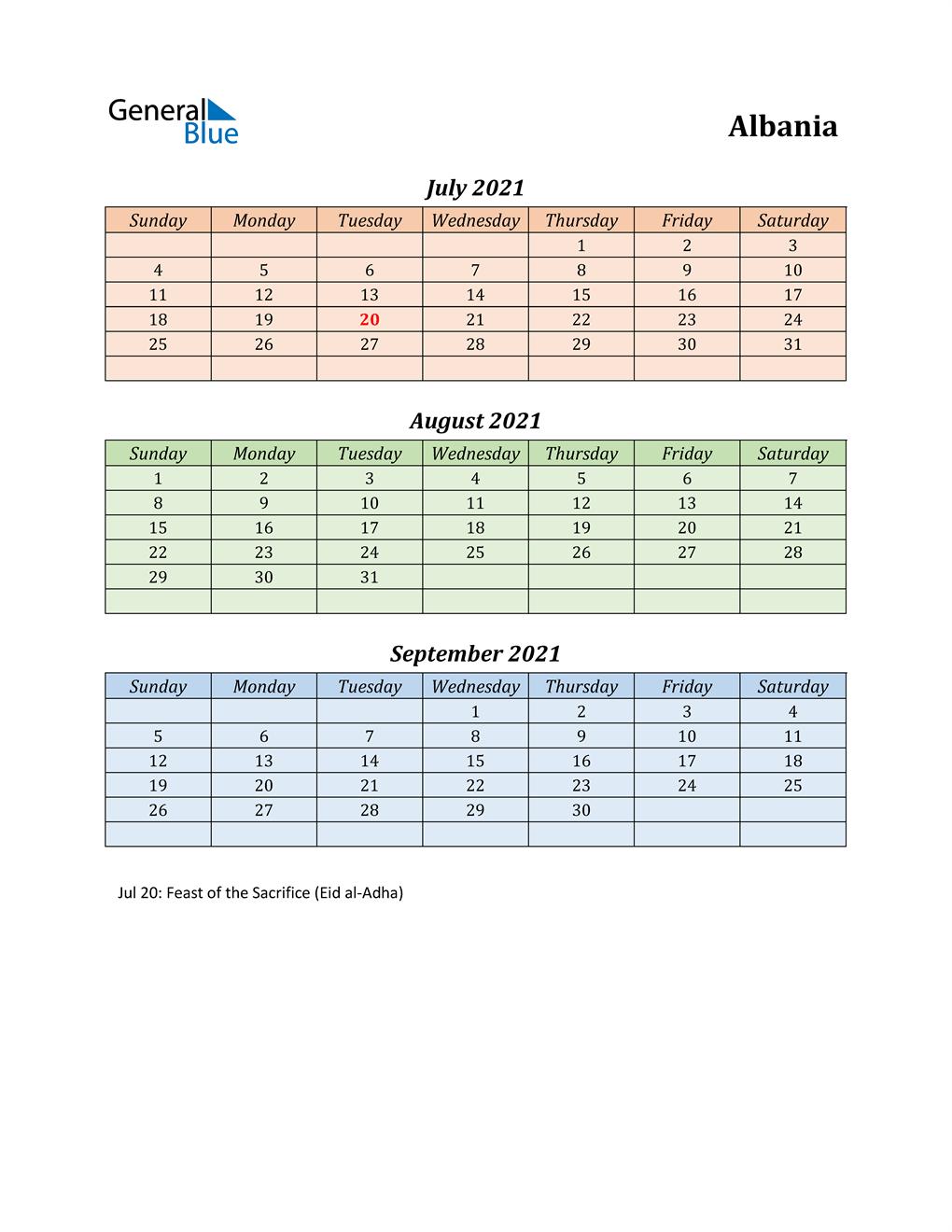 Q3 2021 Holiday Calendar - Albania