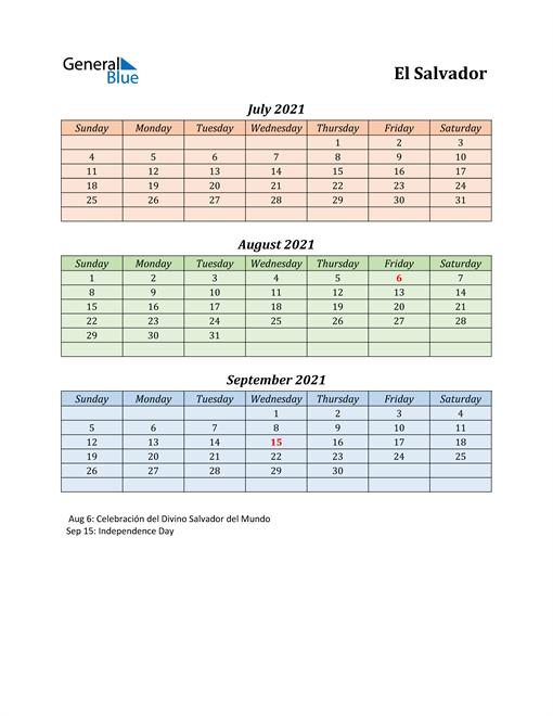 Q3 2021 Holiday Calendar - El Salvador
