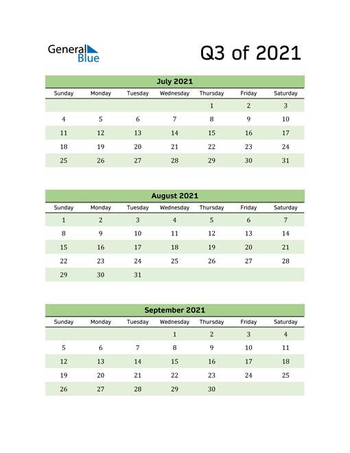 Printable Quarterly Calendar (Q3 2021)