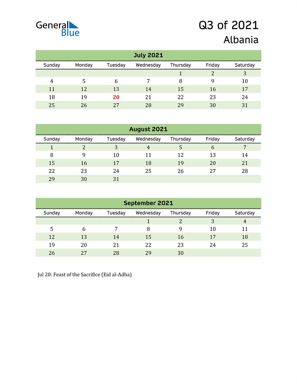 Quarterly Calendar 2021 with Albania Holidays