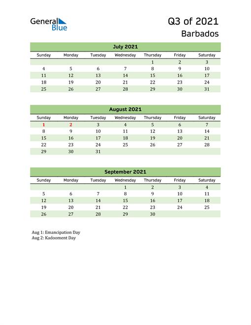 Quarterly Calendar 2021 with Barbados Holidays