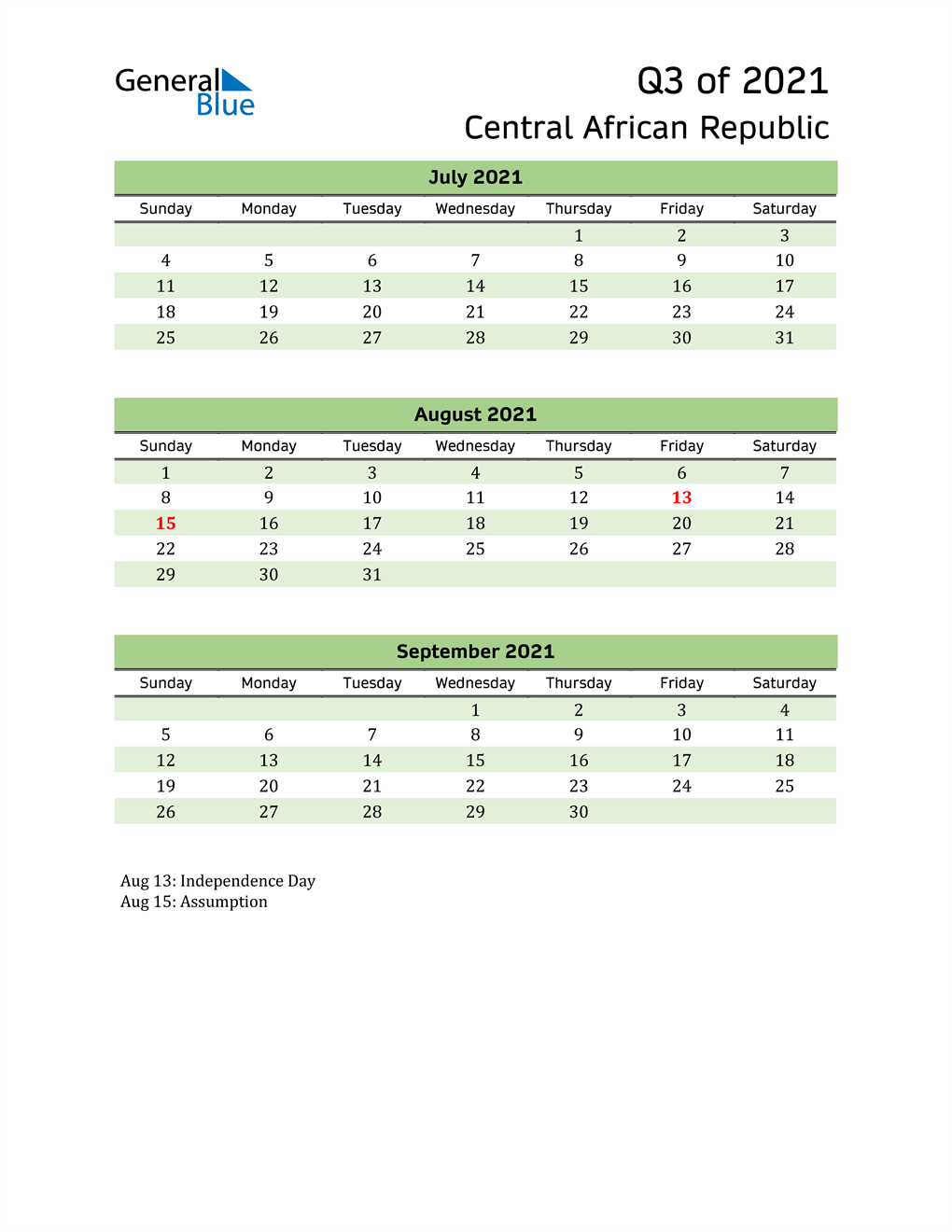 Quarterly Calendar 2021 with Central African Republic Holidays