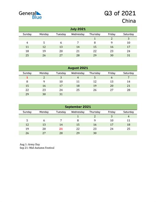 Quarterly Calendar 2021 with China Holidays