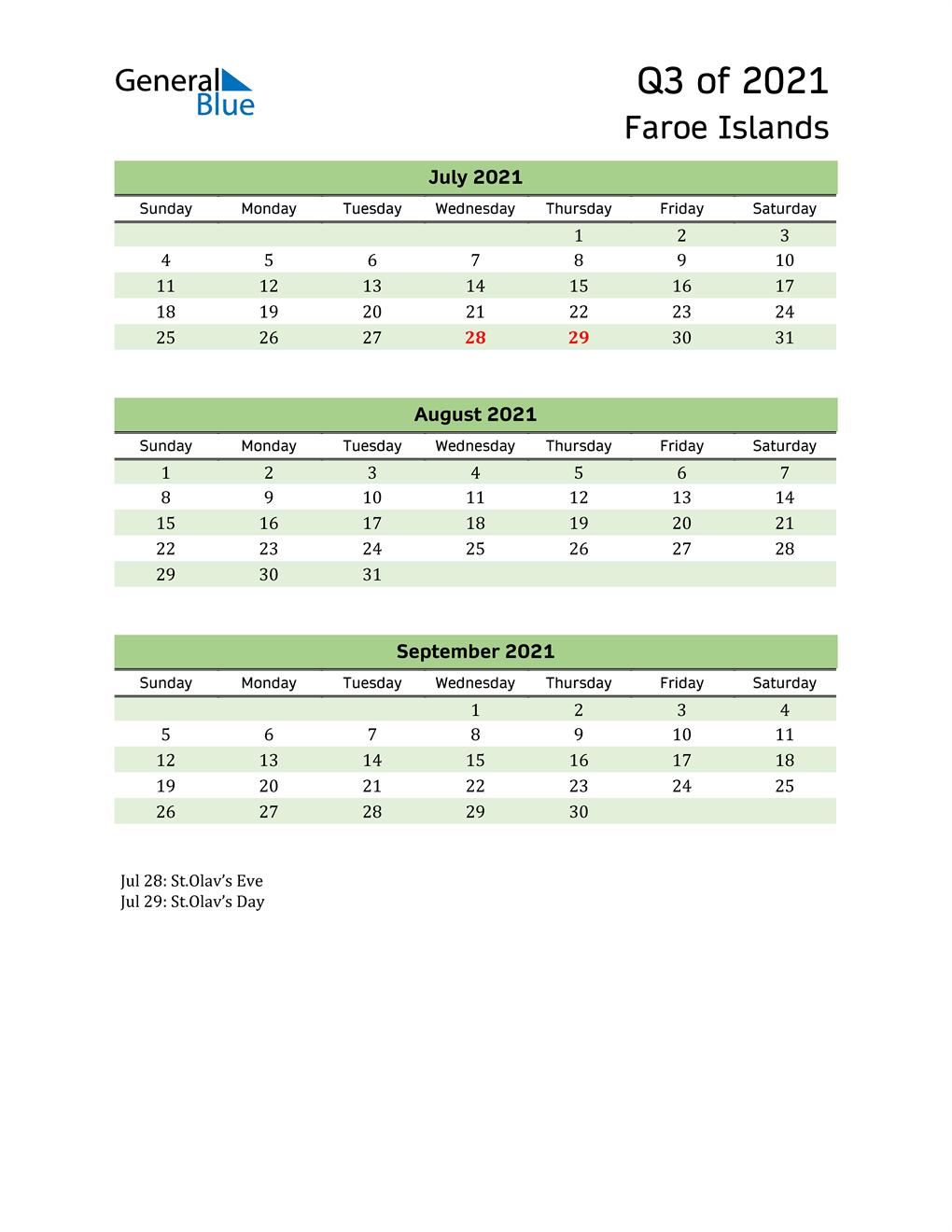 Quarterly Calendar 2021 with Faroe Islands Holidays