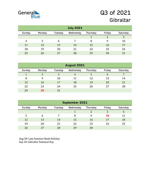 Quarterly Calendar 2021 with Gibraltar Holidays