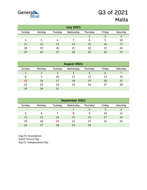 Quarterly Calendar 2021 with Malta Holidays