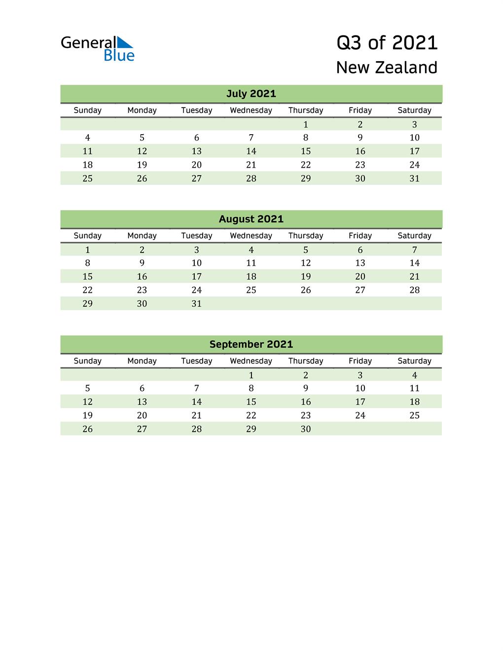 Quarterly Calendar 2021 with New Zealand Holidays