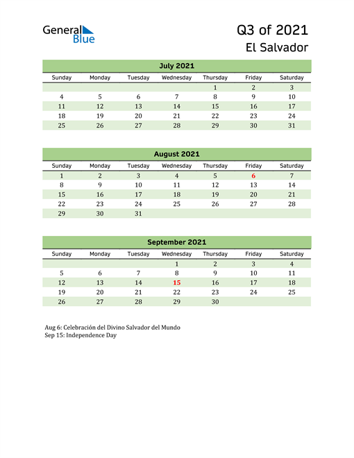 Quarterly Calendar 2021 with El Salvador Holidays