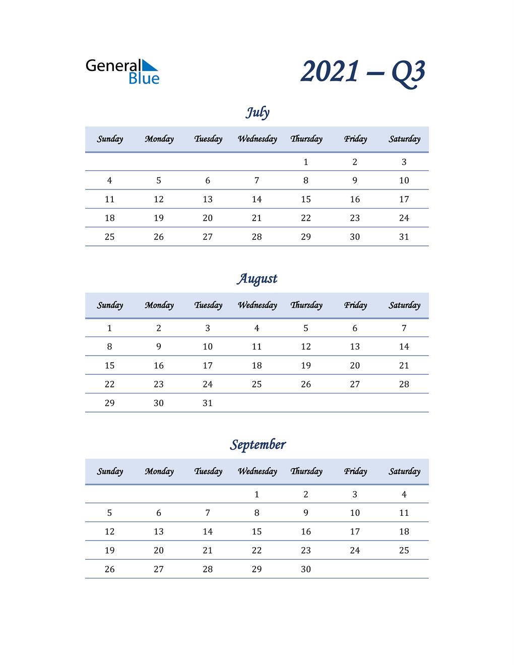 2021 Quarterly Calendar