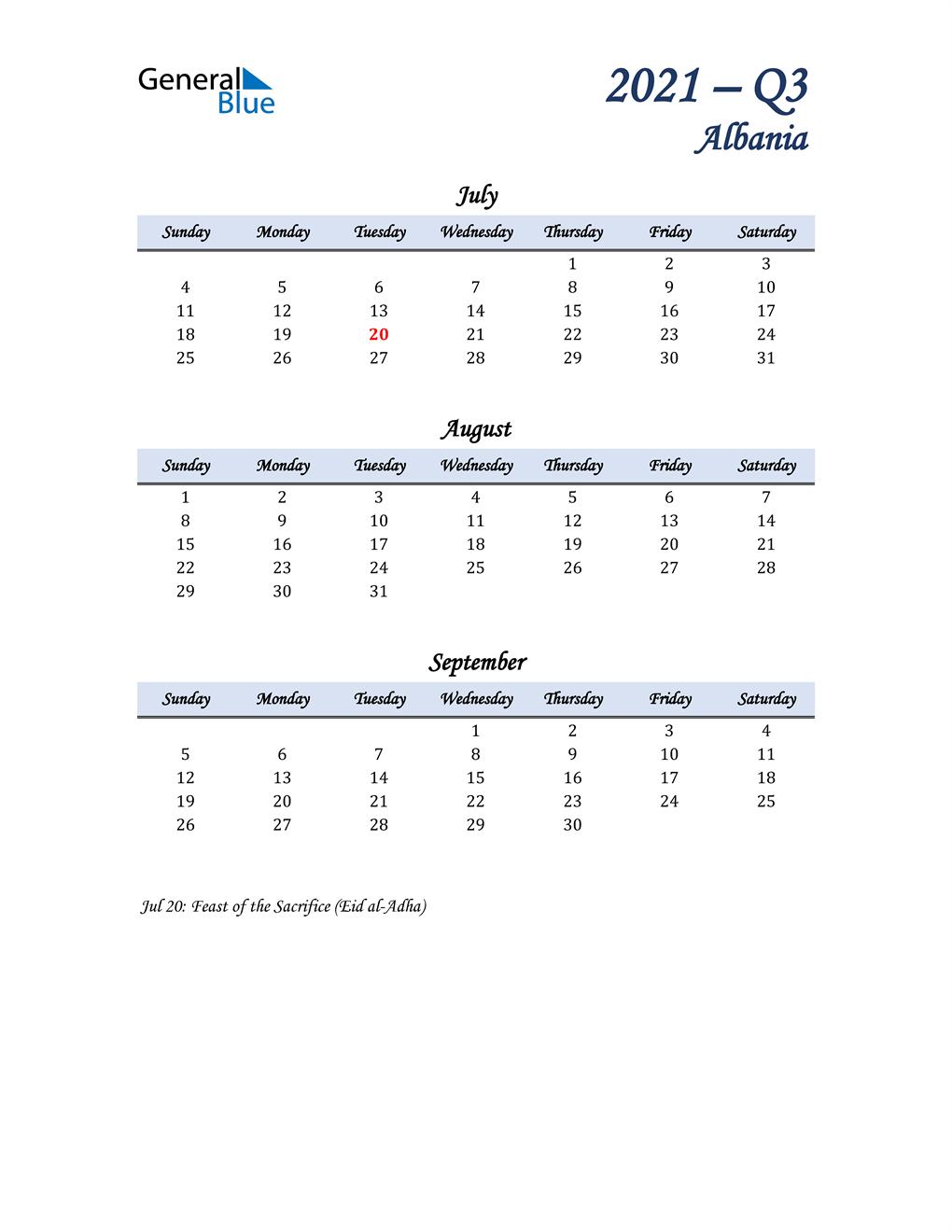 July, August, and September Calendar for Albania