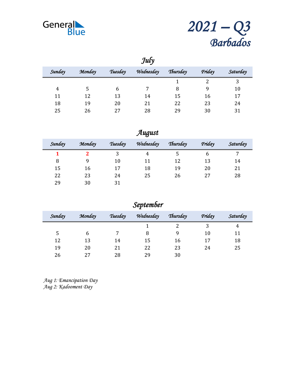 July, August, and September Calendar for Barbados