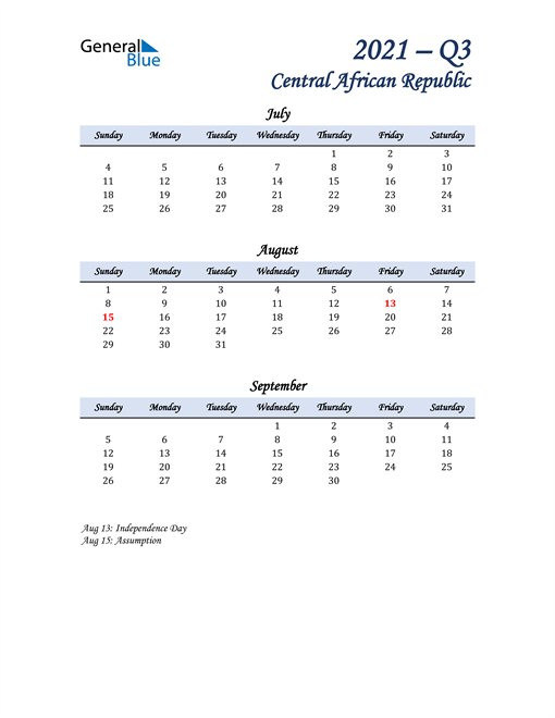 July, August, and September Calendar for Central African Republic
