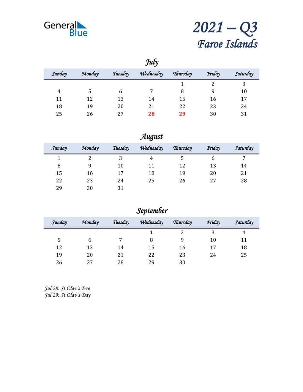 July, August, and September Calendar for Faroe Islands