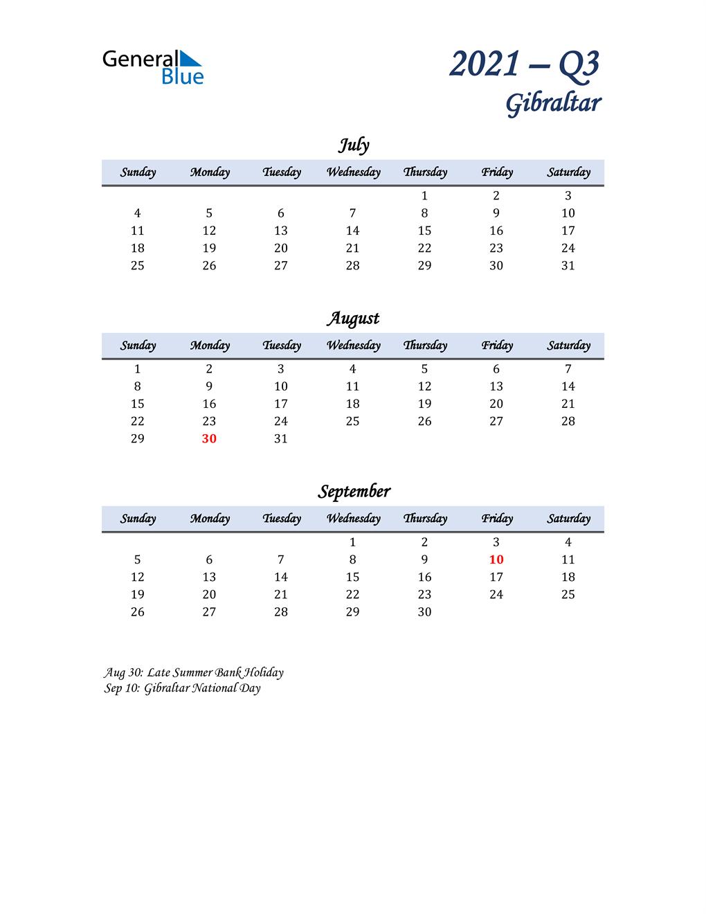 July, August, and September Calendar for Gibraltar