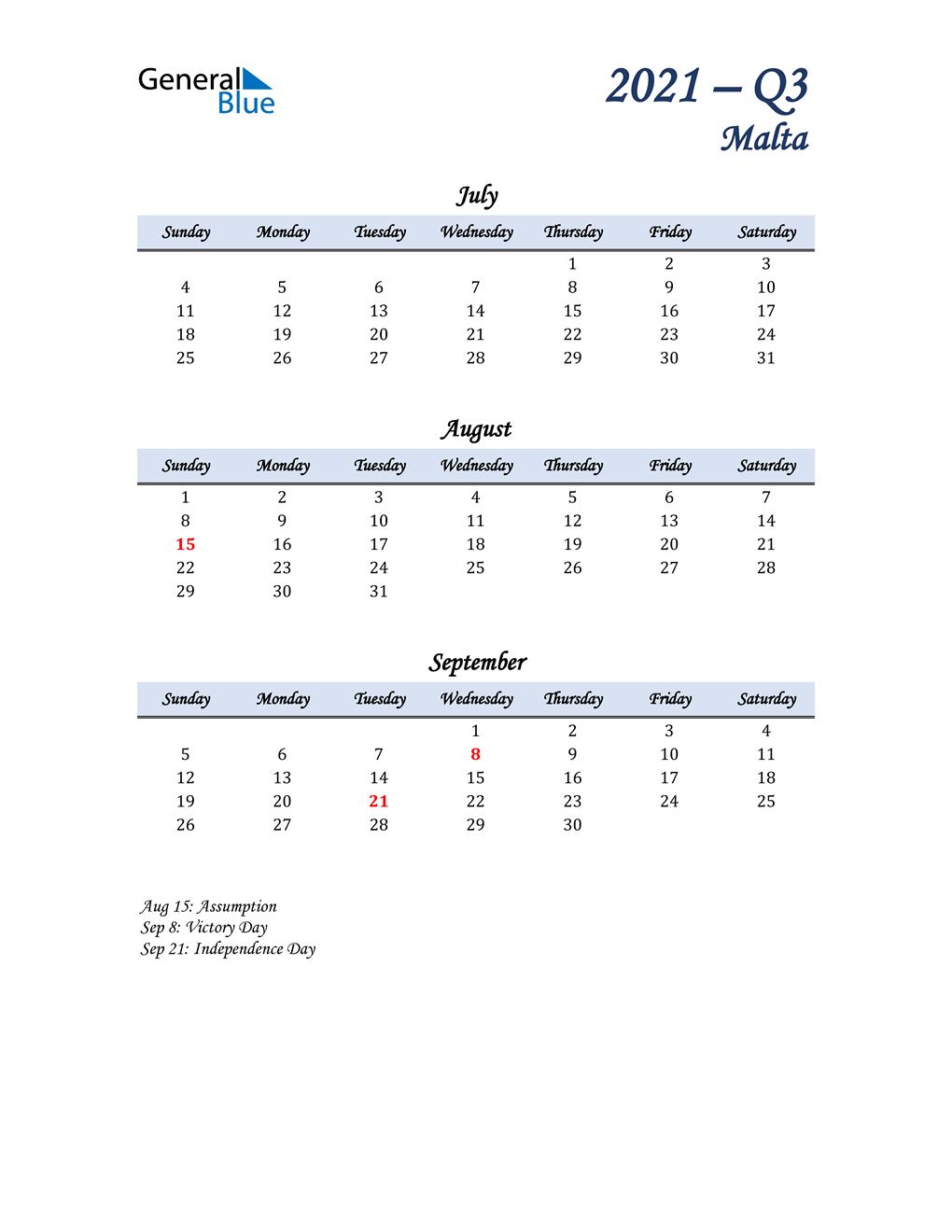 July, August, and September Calendar for Malta