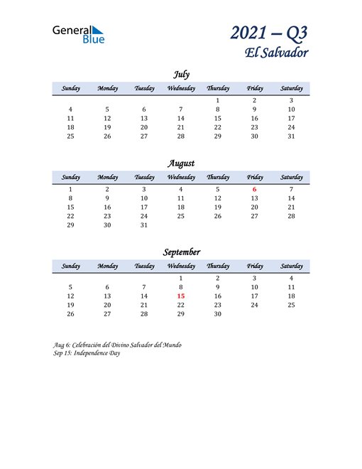 July, August, and September Calendar for El Salvador
