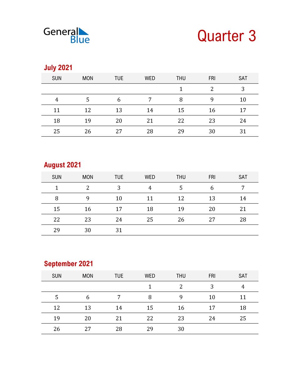 Three-Month Printable Calendar 2021