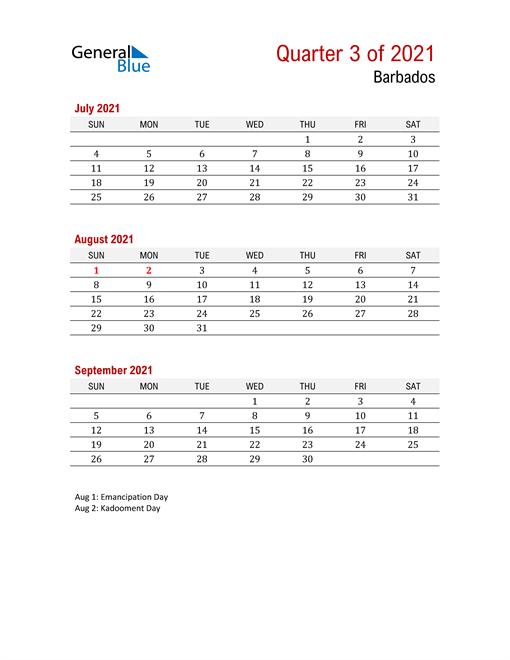 Printable Three Month Calendar for Barbados