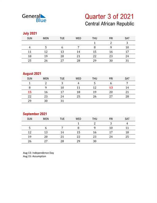 Printable Three Month Calendar for Central African Republic