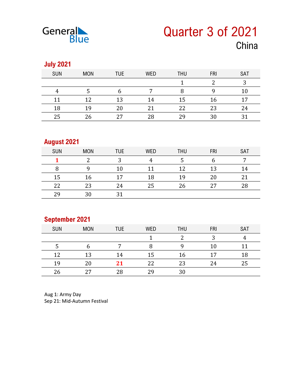 Printable Three Month Calendar for China