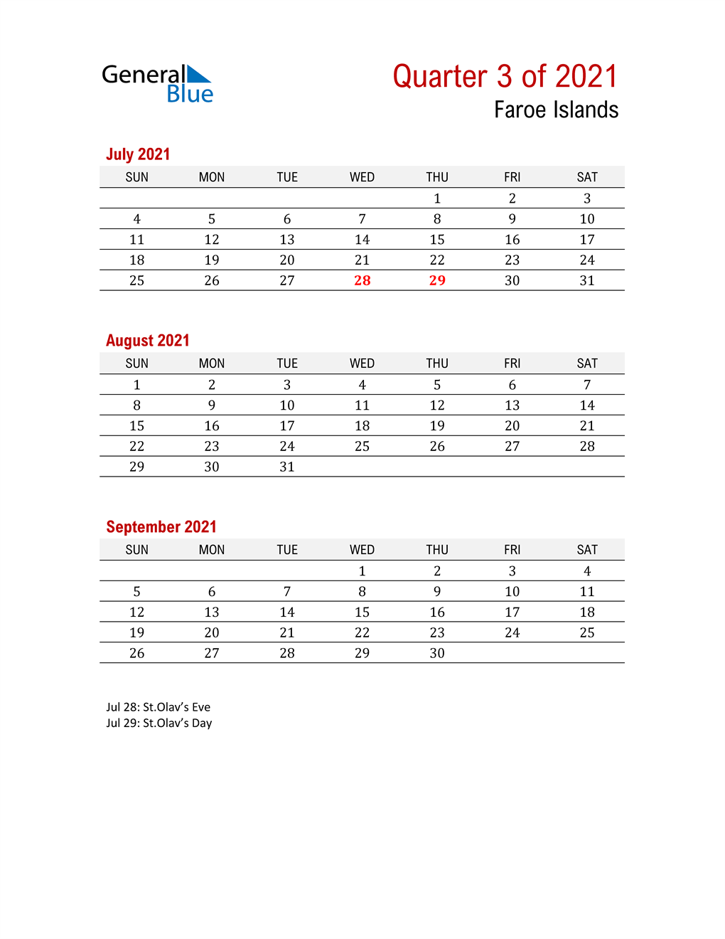 Printable Three Month Calendar for Faroe Islands