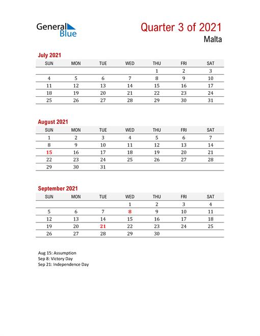 Printable Three Month Calendar for Malta
