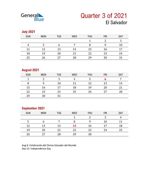 Printable Three Month Calendar for El Salvador