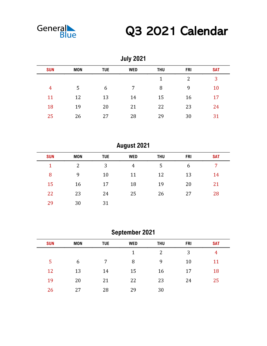 2021 Q3 Calendar with Red Weekend
