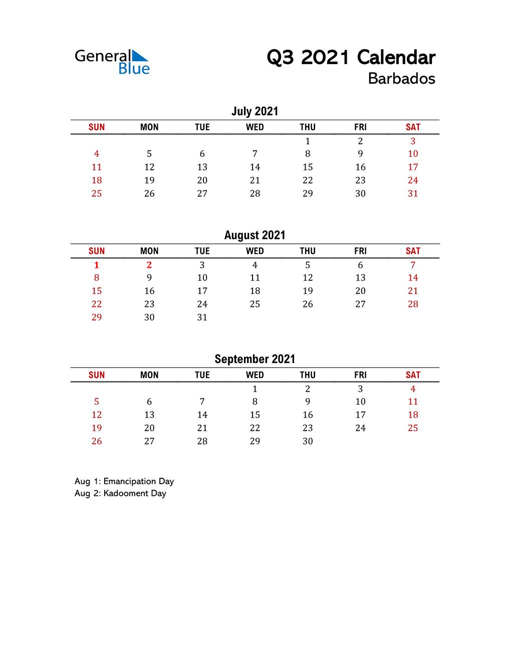 2021 Q3 Calendar with Holidays List