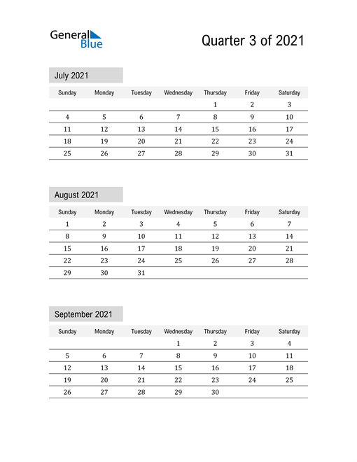July, August, and September Calendar 2021