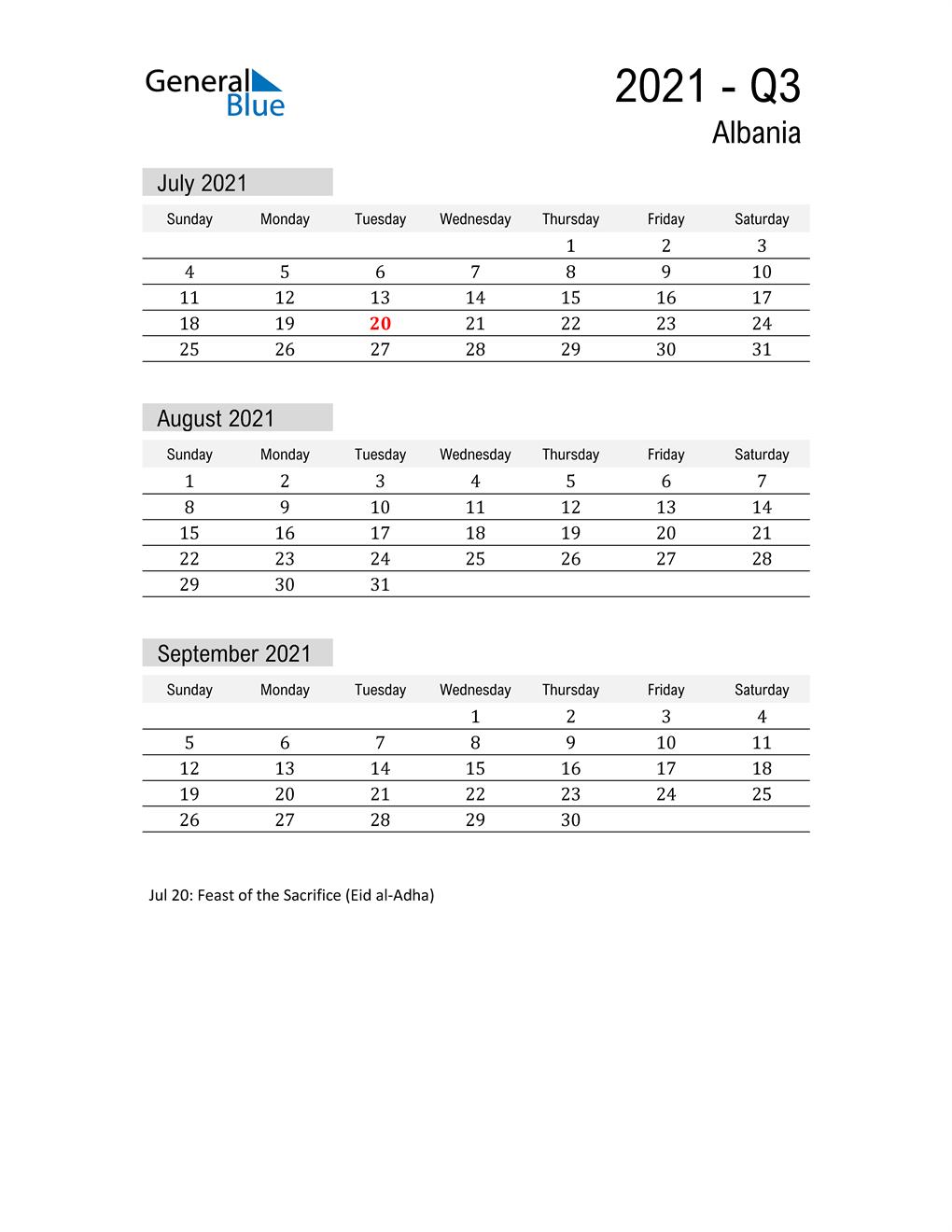 Albania Quarter 3 2021 Calendar