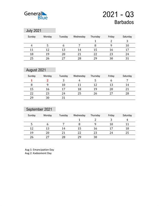 Barbados Quarter 3 2021 Calendar