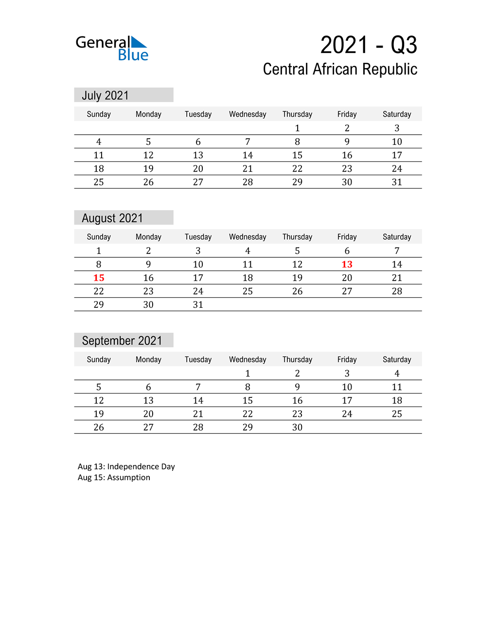Central African Republic Quarter 3 2021 Calendar