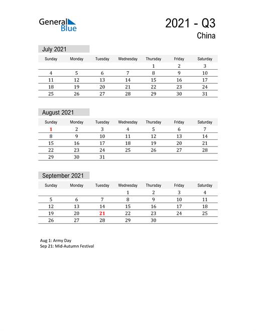 China Quarter 3 2021 Calendar