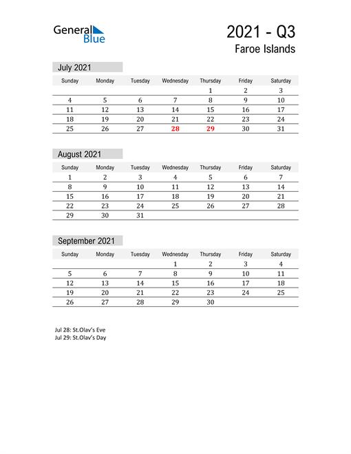 Faroe Islands Quarter 3 2021 Calendar