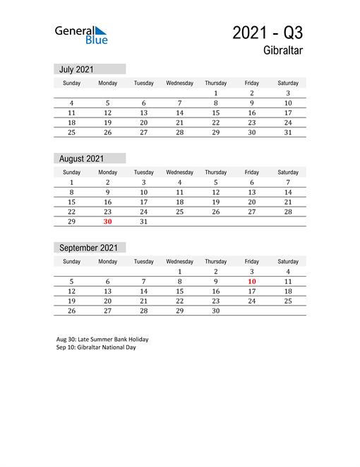 Gibraltar Quarter 3 2021 Calendar