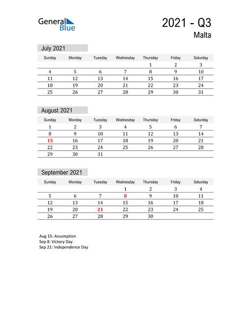 Malta Quarter 3 2021 Calendar