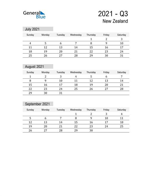 New Zealand Quarter 3 2021 Calendar
