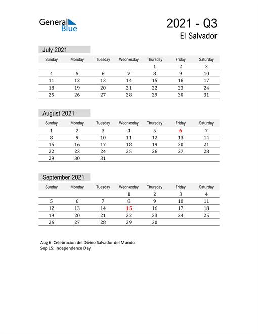 El Salvador Quarter 3 2021 Calendar
