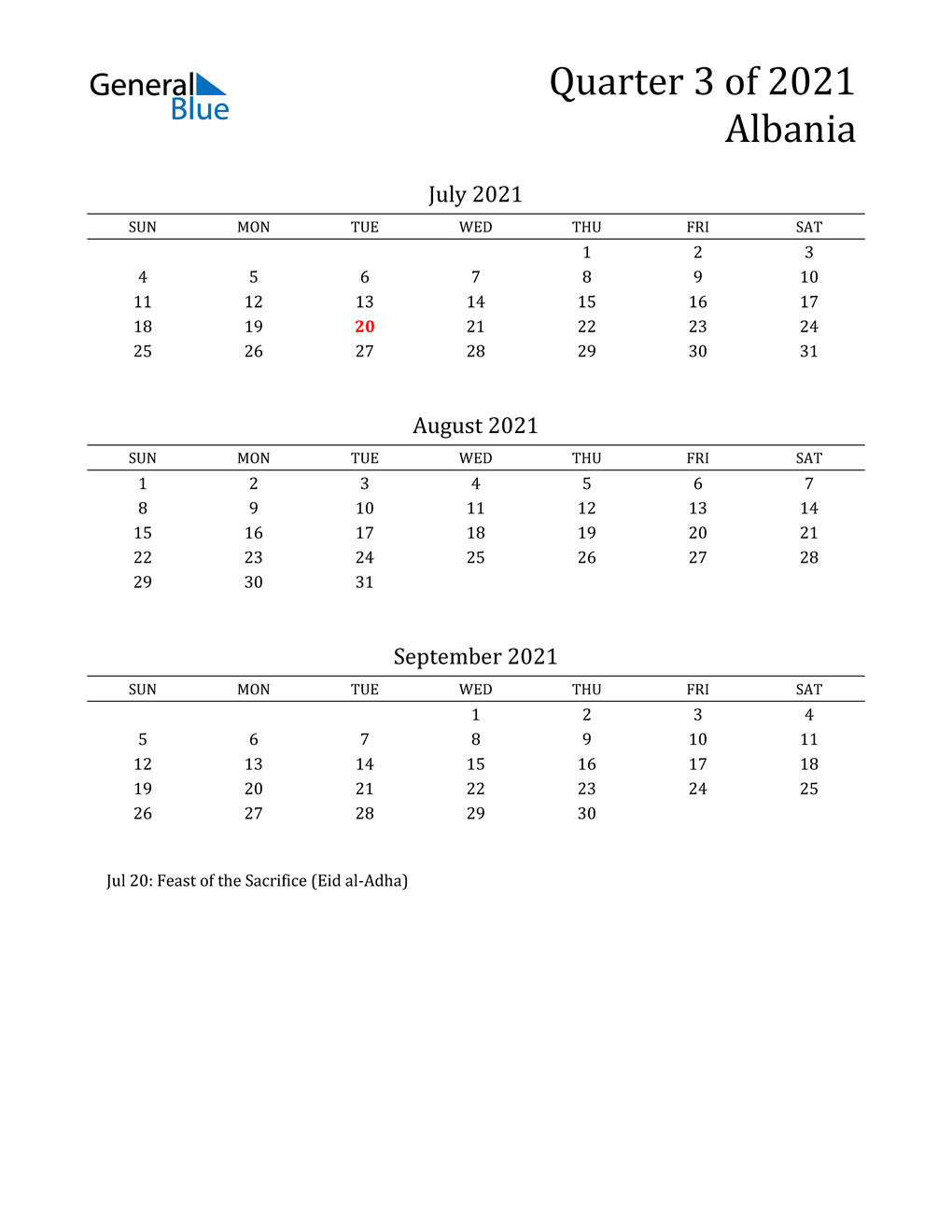 2021 Albania Quarterly Calendar