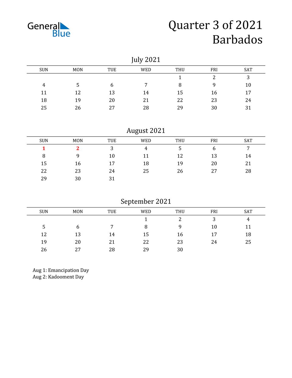 2021 Barbados Quarterly Calendar