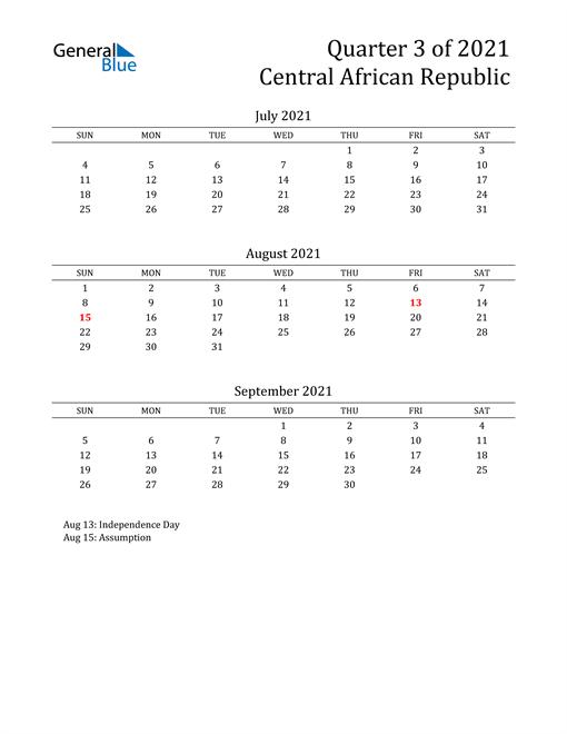 2021 Central African Republic Quarterly Calendar