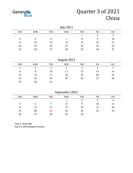 2021 China Quarterly Calendar