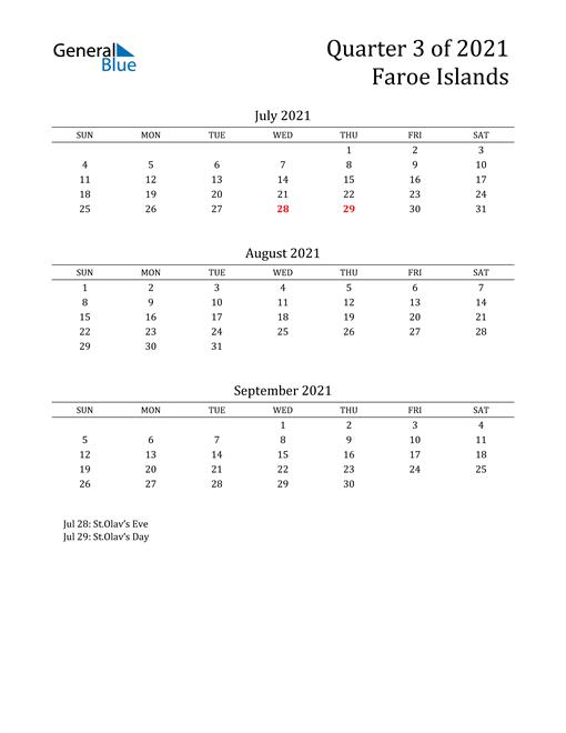 2021 Faroe Islands Quarterly Calendar