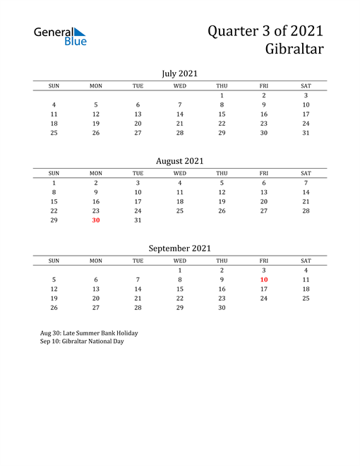 2021 Gibraltar Quarterly Calendar