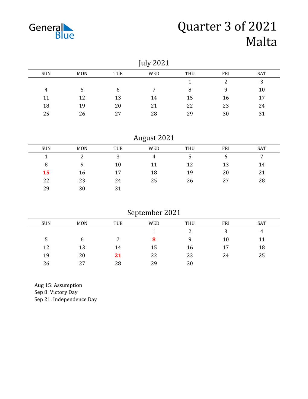2021 Malta Quarterly Calendar