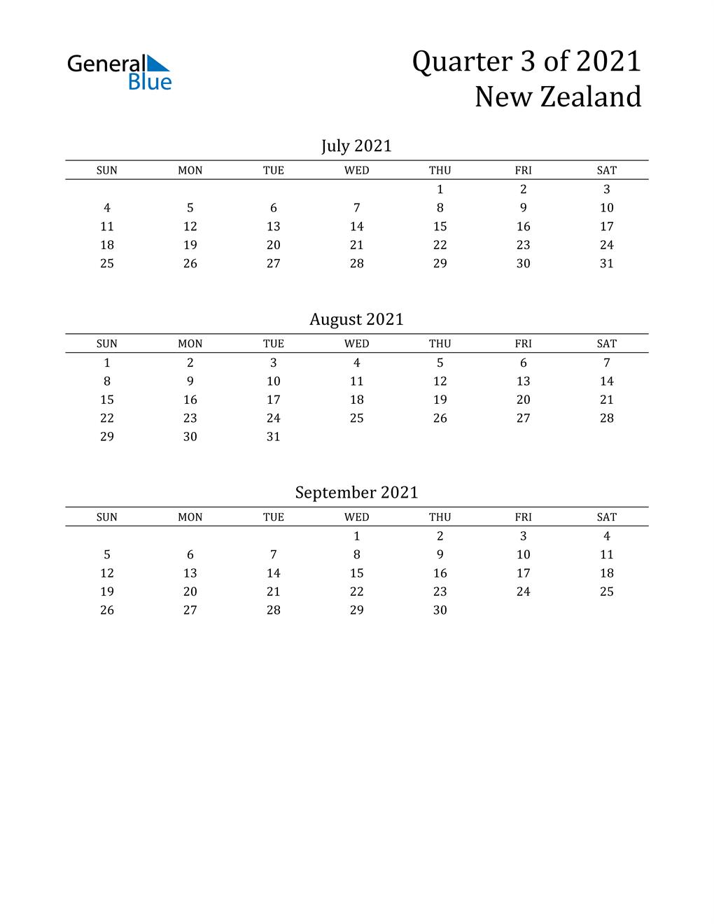 2021 New Zealand Quarterly Calendar