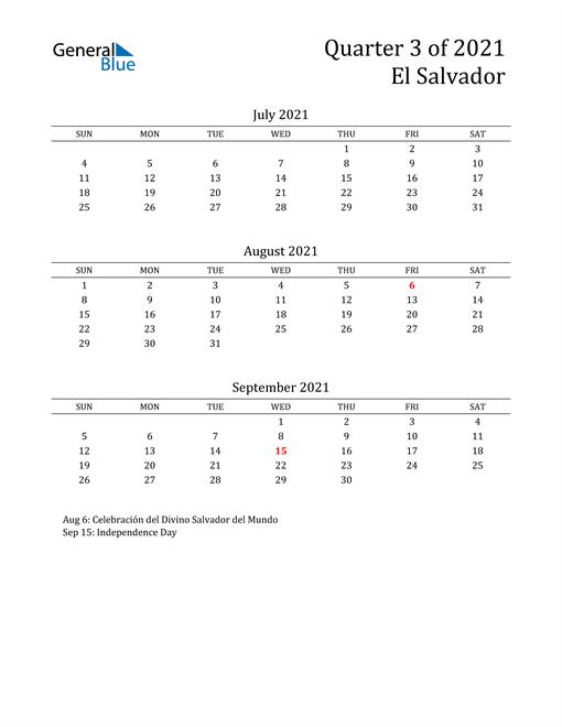 2021 El Salvador Quarterly Calendar
