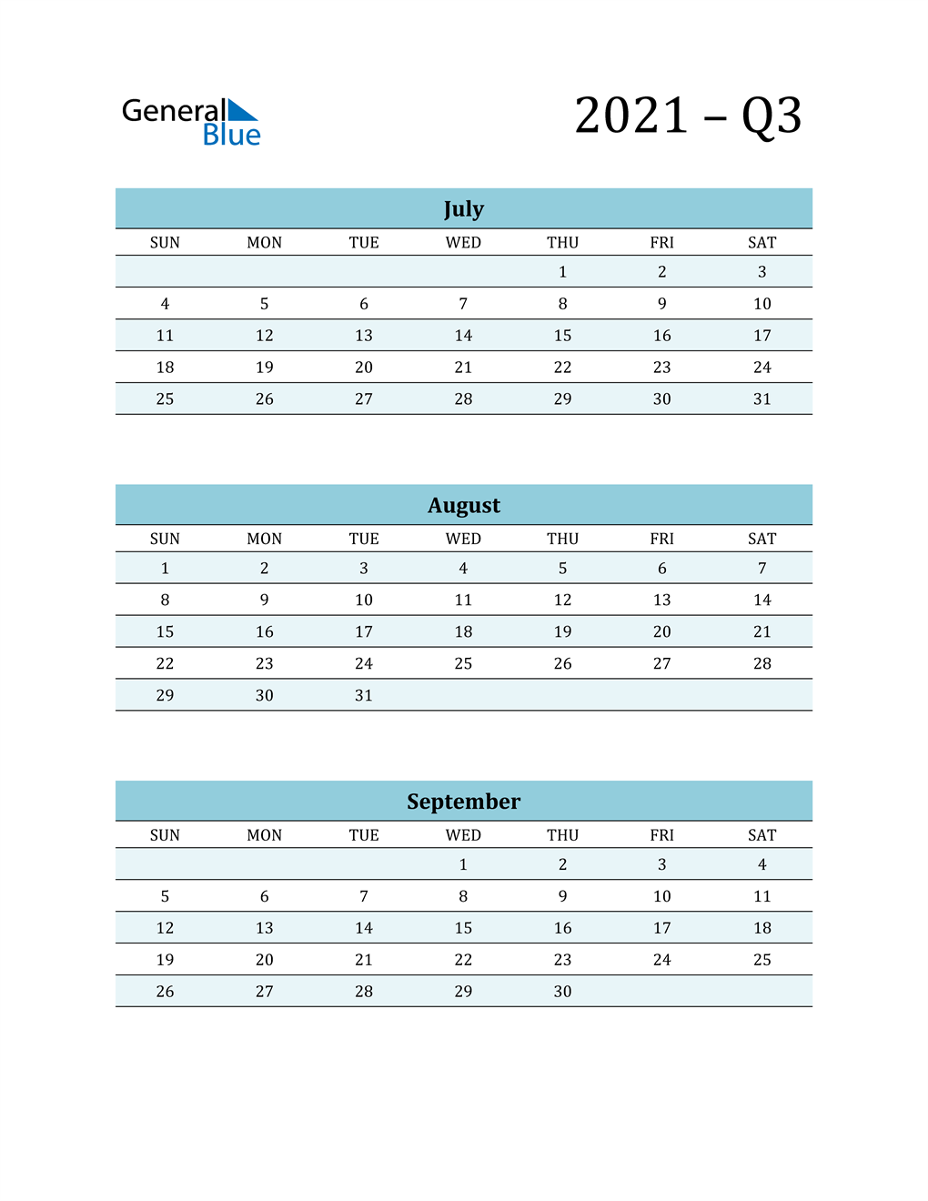 July, August, and September 2021 Calendar